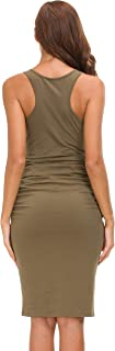 Women's Sleeveless Racerback Tank Ruched Bodycon Sundress Midi Fitted Casual Dress