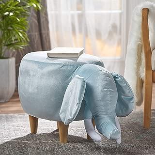 Light Blue Velvet Elephant Ottoman