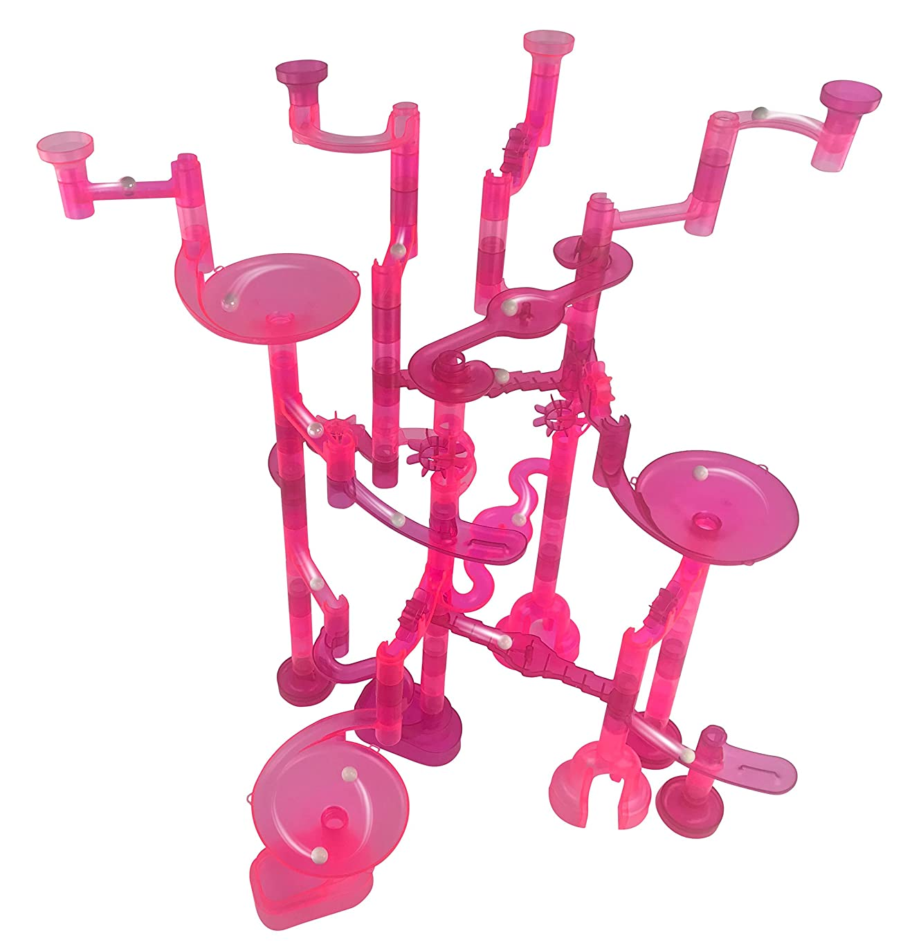 Pinked Out! Marble Run - 100 Pieces: 85 Translucent Marbulous Pieces + 15 Glass Marbles