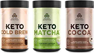 Ancient Nutrition KetoELIXIRS Bundle - Matcha, ColdBrew, and Cocoa, Keto Friendly, Energy Booster, MCTs from Coconut