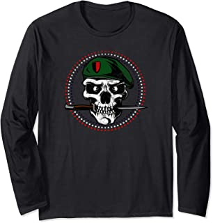 Skull Military Soldier With Knife Long Sleeve T-Shirt