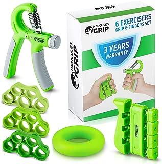 HerculesGrip Hand Grip Strengthener Forearm Grip Workout Kit - 4 Pack - Adjustable Hand Gripper Resistance Range of 22-88lbs, Finger Exerciser, Finger Stretcher & Exercise Ring + HD Video Manual