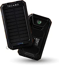 TACAMO IP67 10000 mAh Solar Power Bank/Portable Phone Charger for iPhone, Android, and USB Rechargeable Personal Mobile Electronics - with Integrated Dual-LED Waterproof Emergency Flashlight.