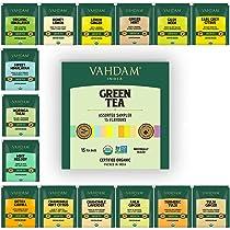 Vahdam – Organic Green Tea Sampler Trial Pack | 15 Assorted Green Tea Bags | USDA Certified Organic Green Tea