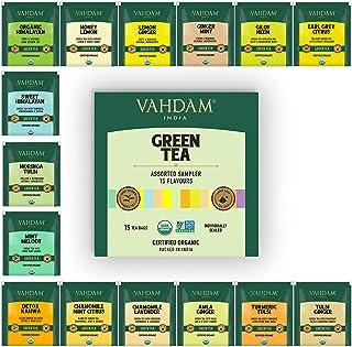 VAHDAM - Organic Green Tea Sampler Trial Pack | 15 Assorted Green Tea Bags | USDA Certified Organic Green Tea