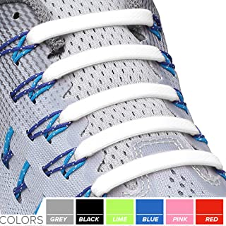 2 Pack No Tie Shoelaces for Kids and Adults - Tieless Elastic Shoe lace for Sneakers Silicone Flat Shoe Laces 2 Pair