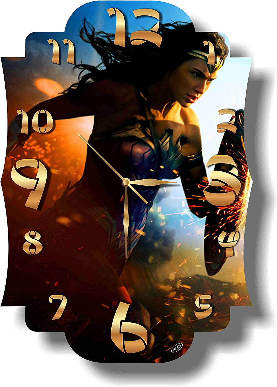 Art time Ranking TOP17 production Wonder Woman 16'' Clock Wall x 11'' Handmade Attention brand