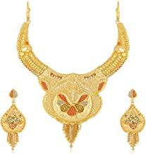 Apara Gold Plated Mint Meenakari Earring Necklace One Gram Jewellery Set for Women