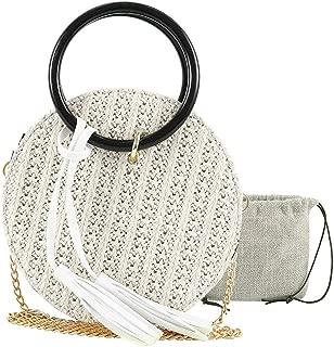 Women Summer Rattan Bag Round Straw Handmade Bags Half Round Woven Beach Cross Body Bag Circle Bohemia Handbag