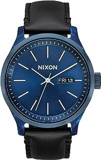ساعة عصرية تناظرية للرجال مقاومة للماء موديل Sentry Luxe A1263-100 متر (42 مم، حزام جلد 21 مم-19 مم) من نيكسون