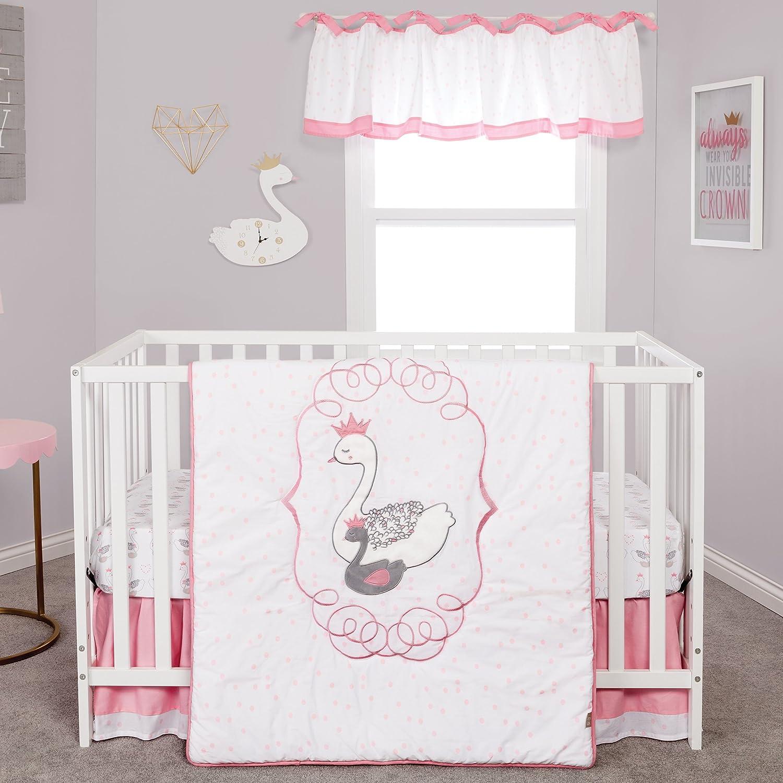 Trend Lab Swans 3 Piece Crib Bedding Nursery Bedding Set, White Pink