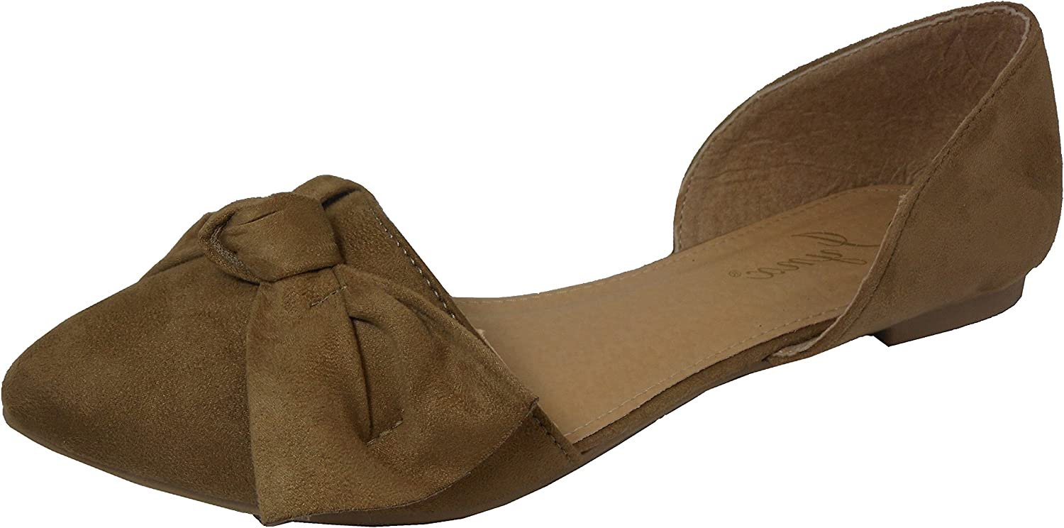 Jynx Women's D'Orsay Knot Bow Closed Pointed Toe Ballet Flat