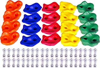 20 Large Rock Climbing Holds Stones for Kids with Installation Hardware - Swing Set Accessories for Wood Playset Swing Set, DIY Rock Wall