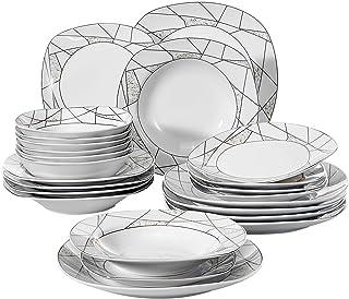 VEWEET Serena 24pcs Service de Table Pocelaine 6pcs Assiettes Plates, 6pcs Assiette Creuse à Soupe, 6pcs Assiette à Desser...
