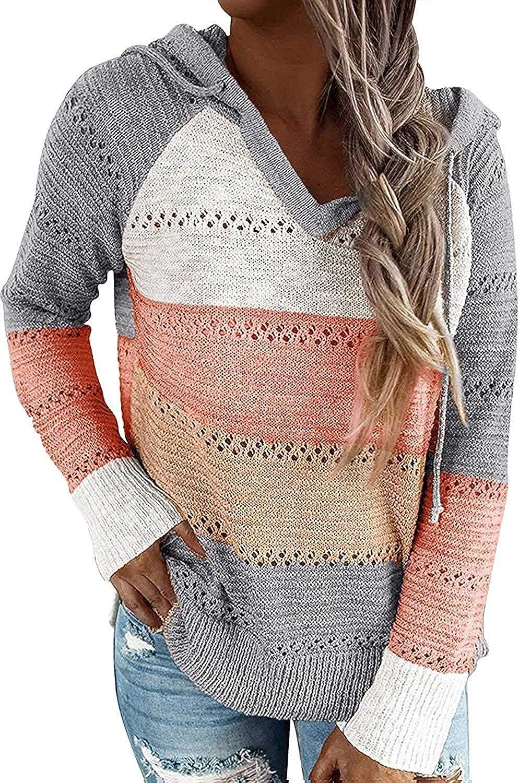 kayamiya Womens V Neck Sweater for Fall Lightweight Eyelet Color Block Knit Hoodie Pullover Sweatshirt Tops