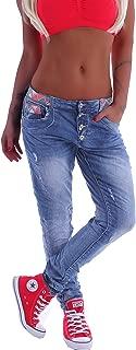 Style-Station Unisex Boyfriend Damen Jeans Chino Baggy Harems Hose Hüftjeans Girlfriend XS 34 S 36 M 38 L 40 XL 42