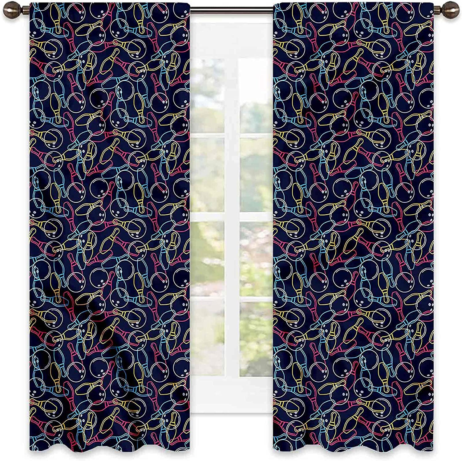 Bowling 90% Max 71% OFF Gorgeous Blackout Curtains Soundproof Shade Color Outlines
