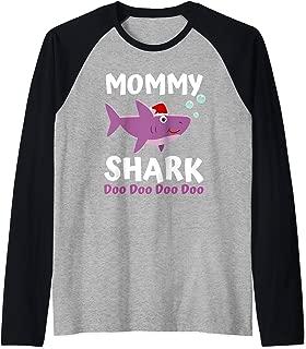 Christmas Gift for Mom Women Her Grandma Mommy Shark Doo Doo Raglan Baseball Tee