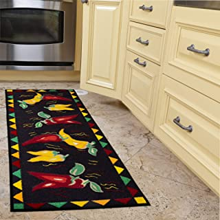 Ottomanson Siesta Collection Kitchen Hot Peppers Design (Non-Slip) Runner Rug, 20