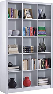 Estantería Librería Triple Color Blanco Brillo Medidas 195 cm (Alto) x 114 cm (Ancho) x 30 cm (Fondo)