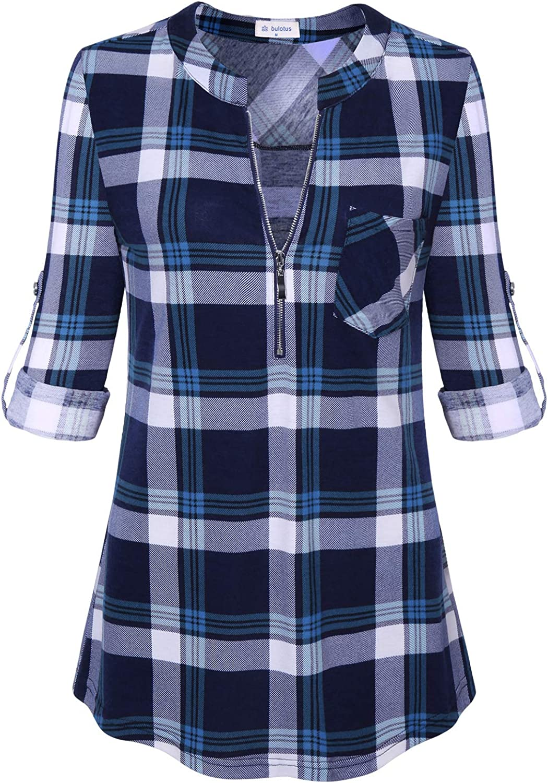 Bulotus Women's 3 4 Sleeve VNeck Casual Plaid Tunic Shirt
