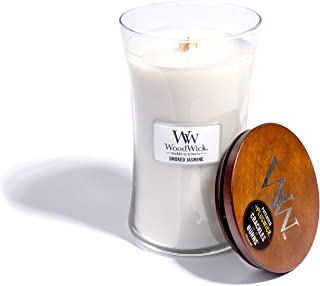 WoodWick Smoked Jasmine, Highly Scented Candle, Classic Hourglass Jar with Lid, Large 7 Inches, 21.5 OZ