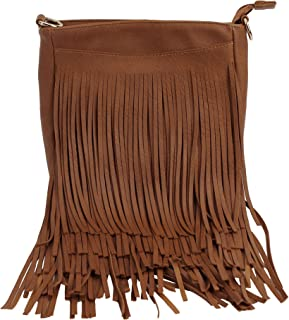 MEGAUK Damen Quaste Messenger Bag Crossbody Quasten Casual Schultertasche Leder Schultertasche