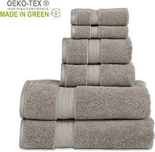 """804 GSM 6 Piece Towels Set, 100% Cotton, Premium Hotel & Spa Quality, Highly Absorbent, 2 Bath Towels 27"""" x 54"""", 2 Hand Towel 16"""" x 28"""" and 2 Wash Cloth 12"""" x 12"""". Grey Color"""