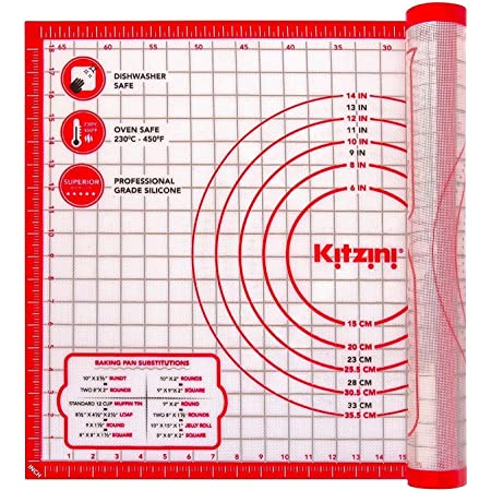 Kitzini Silicone Pastry Mat. Non Slip Baking Mat. BPA-Free Silicone Baking Sheet. Extra Large Silicone Mats for Baking, Rolling Pastry, Dough, Pizza & Cookies. Easy Clean - Kneading Mat
