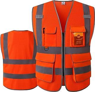 LOHASPRO Safety Vest High Visibility - Mesh Reflective Vest with Pockets for Men & Women - ANSI/ISEA Standards (Large, Ora...