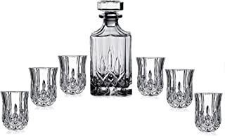 Elegant Crystal Liquor Whiskey and Wine Decanter Bar Set. Irish Cut 7 Piece Set 1 Decanter 450ml. 6 Tulip-shaped 2oz Shot Glasses