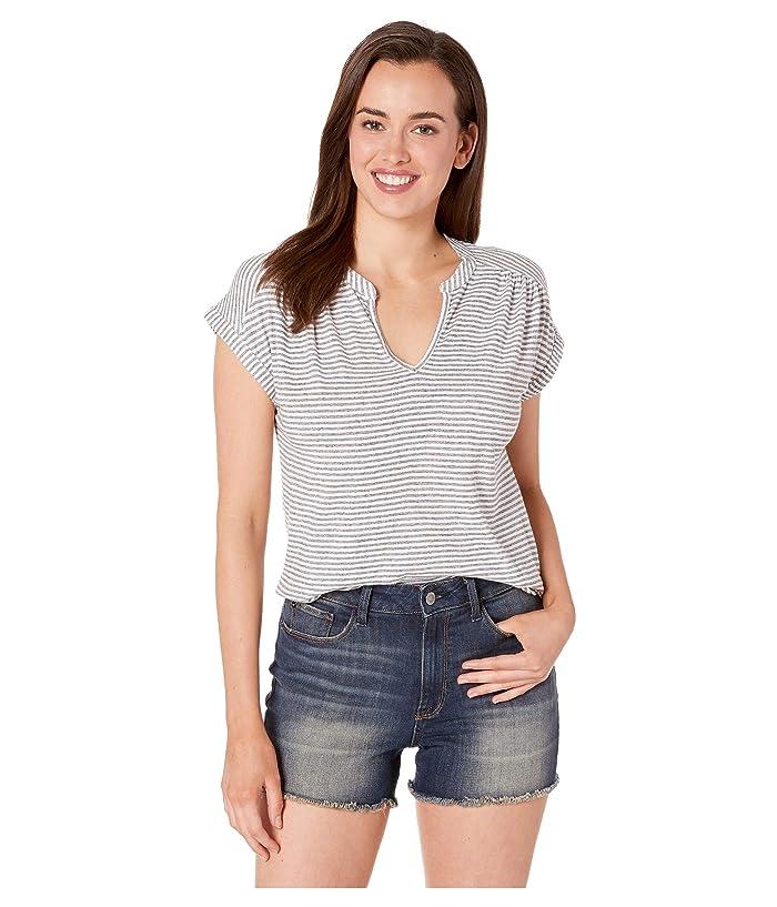 Lucky Brand  Stripe Notch Neck Top (Black Stripe) Womens Clothing