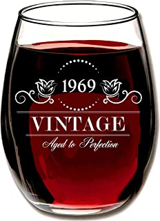 1969 50th Birthday Gifts for Women or Men - Vintage Aged to Perfection 15 oz Stemless Wine Glass - Perfect Anniversary Party Decorations for Her Him Wife Daughter Husband or other Loved One