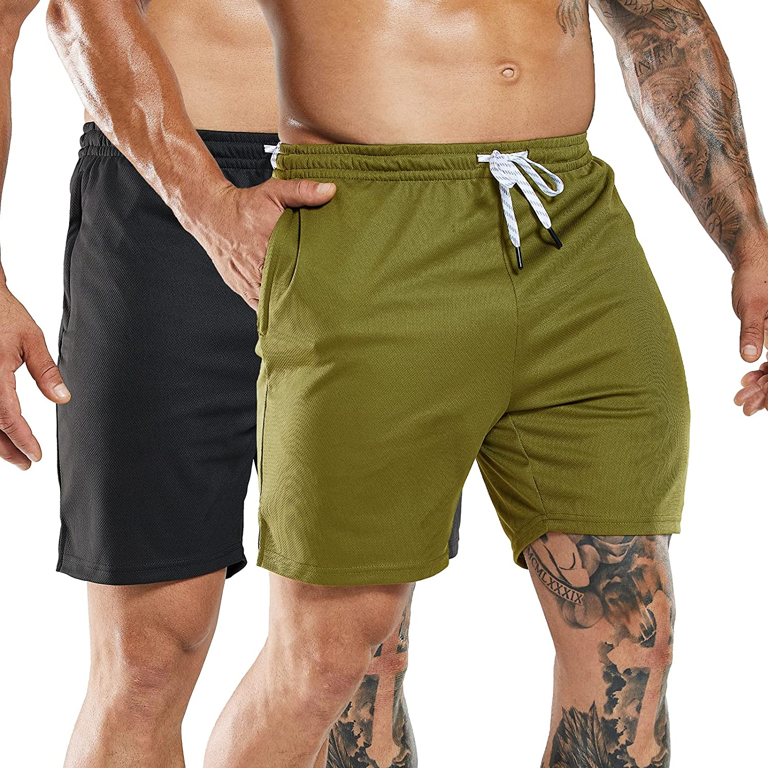 Nepest Mens 2-Pack Quick Dry Running Shorts with Zipper Pockets, 7 Inch Inseam Gym Athletic Workout Shorts, No Liner : Clothing, Shoes & Jewelry