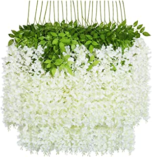 U'Artlines 24 Pack 3.6 Feet Artificial Fake Wisteria Vine Ratta Hanging Garland Silk Flowers String Home Party Wedding Decor (24, White)