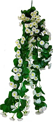 Loxiaa Artificial Hanging Flowers for Home Wall Hanging Decor (White)