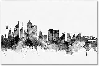 Sydney Australia Skyline B&W II by Michael Tompsett, 22x32-Inch Canvas Wall Art
