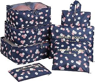7Set Organizadores de Viajes Cubos de Embalaje Bolsa de lavandería Bolsas de compresión de Organizador de Bolsa para la Ropa, cosmético,Zapato (Flor Azul Marino)