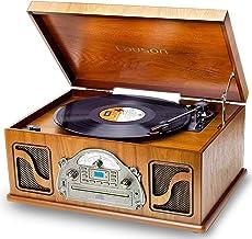 Nostalgie Plattenspieler mit Lautsprecher | Musikanlage mit Retro Radio Bluetooth | Stereoanlage mit CD und Bluetooth | 3-Gang 33/45/78 | USB Aufnahmefunktion | 2 Stereo Lautsprechern Aux RCA