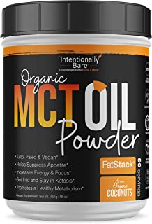 Intentionally Naked Organic MCT Oil Powder | Zero Net Carbs | No Grit Formula | Keto Paleo Vegan Friendly | 70% C8 Unflavored | 50 Servings