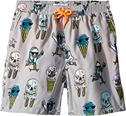 Taylor Ice Cream Monster Print Swim Shorts (Toddler/Little Kids/Big Kids)