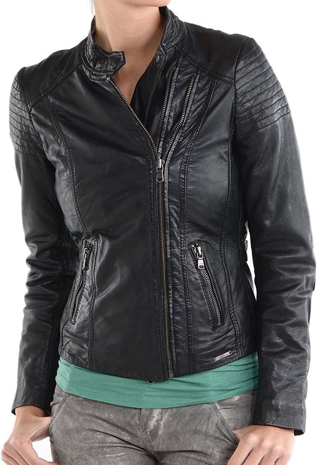 Kingdom Leather New Women Motorcycle Lambskin Leather Jacket Coat Size XS S M L XL XW564