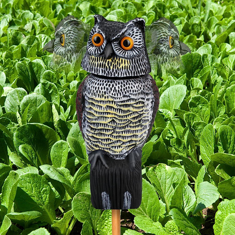 SHWD OwlDecoyFakeOwltoScareBirdsSquirrelsMicesAwayRotatingHead,OwlStatueScarecrowsforIndoorOutdoorYard,Garden,RoofandMore