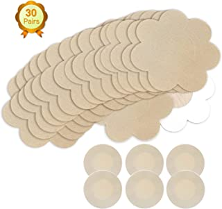 Nipple Breast Covers, Sexy Breast Pasties Adhesive Bra Disposable (30 Flower/3 Round Wheat)