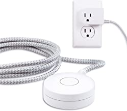 Cordinate, White/Gray, Designer Switch Plug with Braided Cord, 6 Ft Long Power Cable, For Tabletop or Wall Mount, Perfect for Lamps/Seasonal Lights, 3 Prong, Slip Resistant Base, 41095