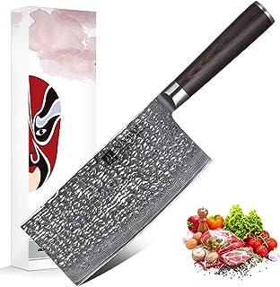 XINZUO 17.5cm Couperet de Cuisine Professionnel Feuille de Boucher Couteau, 67 Couches Acier Damas Couteau du Chef Chinoi...