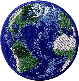 Toppa ricamata da applicare con ferro da stiro o cucitura, tema: pianeta Terra