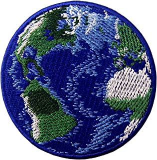 Blue Earth World Planet Embroidered Badge Iron On Sew On Patch