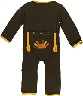 KicKee Pants Little Boys Holiday Applique Coverall- Bark Turkey, 3- 6 Months