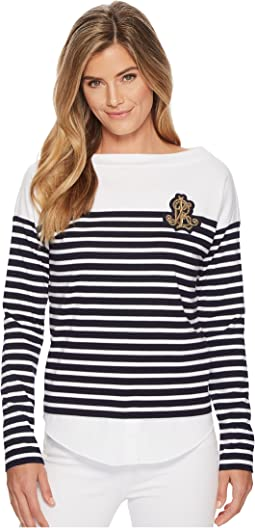 LAUREN Ralph Lauren - Striped Layered Cotton Sweater